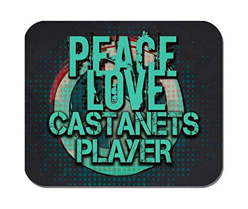 Makoroni - Peace Love Castanets Player Music- Non-Slip Rubber - Computer, Gaming, Office Mousepad
