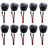 Twidec/10Pcs AC 6A/250V 10A/125V SPST 2 Pins 2 Position On/Off Car Boat Round Black Rocker Switch Toggle with Pre-soldered Wires(Quality Assurance for 1 Years)KCD1-2-101-X-H