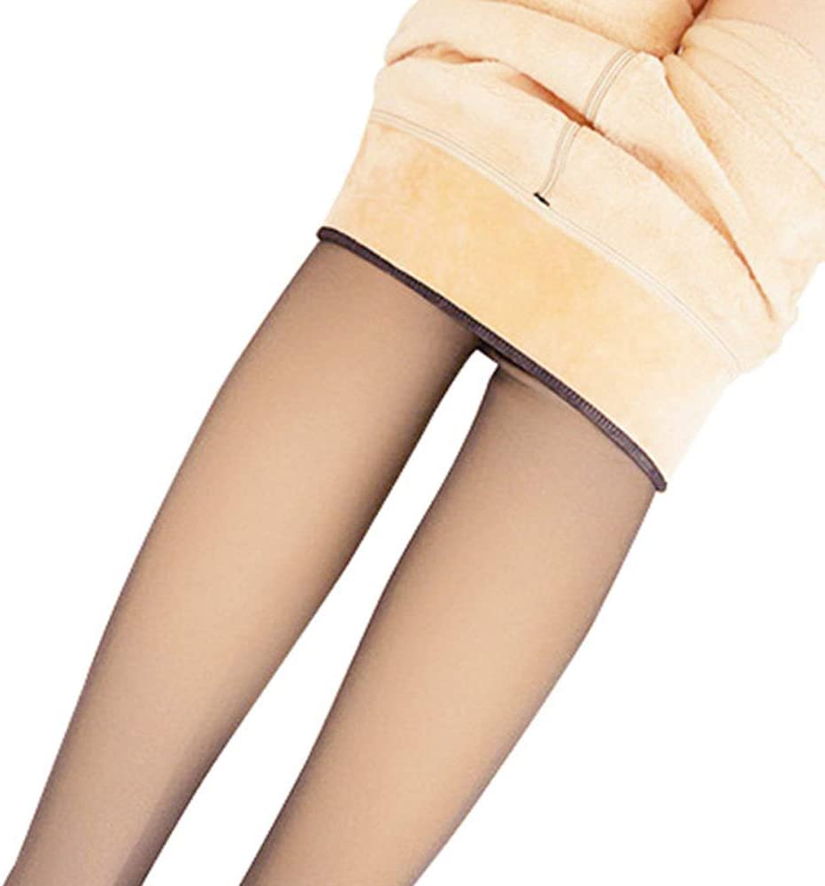 MAYouth Legs Fake Translucent Warm Fleece Pantyhose Slim Stretchy for Winter Outdoor Coffee