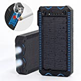 15000mAh Solar Charger with Cigarette Lighter, Elzle Solar Power Bank Dual USB Backup Battery Pack Charger, Outdoor Solar External Battery Charger with 2 Led Flashlight for Smart Phone, More