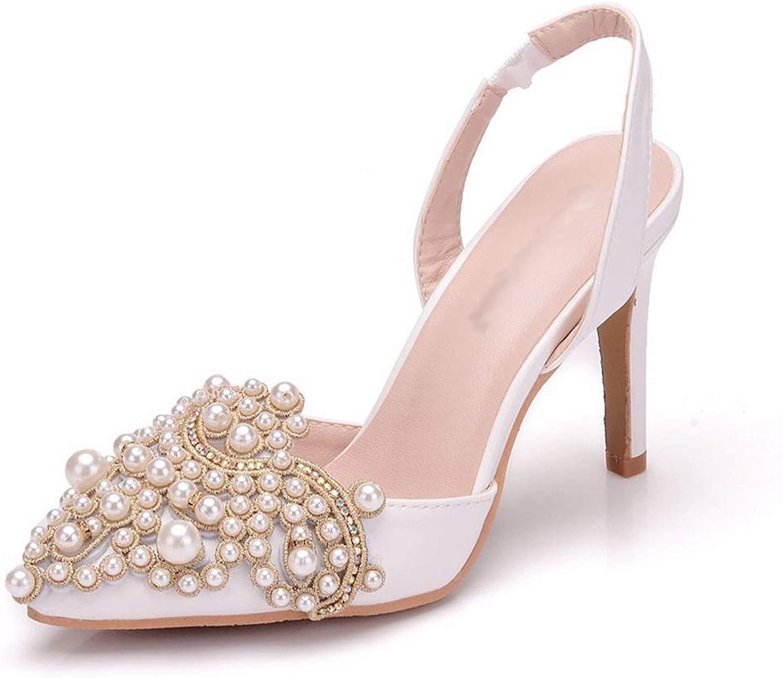 RHYXVB Hochzeitsschuhe Spitzen High Heels Party Hochzeit Frauen High Heel Stiletto Sandalen Wei High Heels Stiletto Pump (Größe   40)