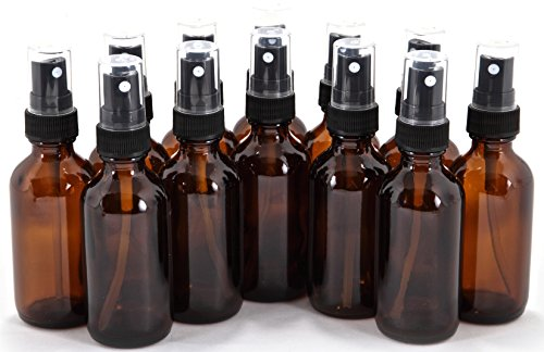 2 oz Glass Bottles, with Black Fine Mist Sprayers