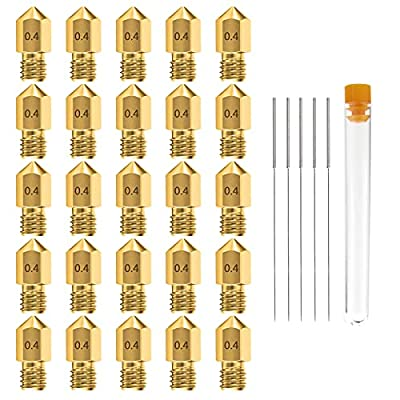 0.4MM MK8 Ender 3 Nozzles 25 pcs 3D Printer Brass Nozzles Extruder for Makerbot Creality CR-10 with 5 Needles and Metal Storage Box (0.4mm)