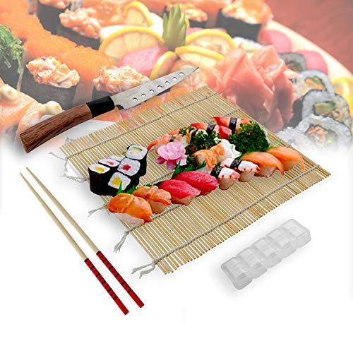 casaviva Kit Sushi PRO Giapponese Completo di Coltello Traforato, Stuoia, Stampi per Sushi, Bacchette Giapponesi