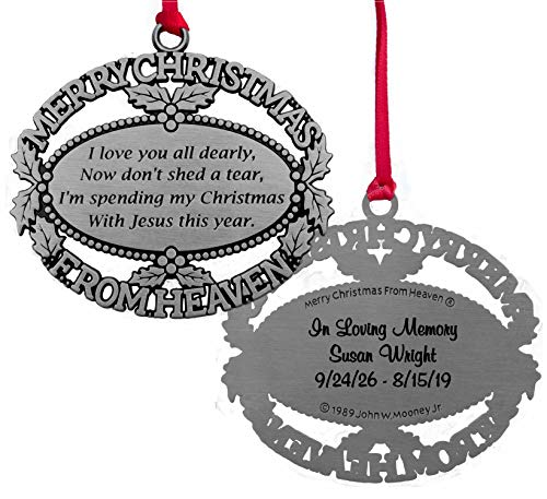 MooneyTunCo. Personalized Merry Christmas from Heaven Ornament, Poem Card, Gift Box