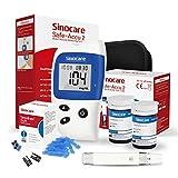glucometro, misuratore di glicemia, diabete test kit glucosio nel sangue, sinocare safe accu2 kit di monitoraggio dello zucchero con 50 strisce codefree reattive indipendentee mg/dl