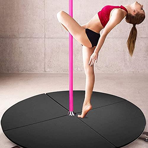 Jerry Esterilla de baile de polos, redonda, plegable, portátil, anticolisión, adecuada para principiantes, gimnasia, yoga, color negro, 200 cm x 3 cm