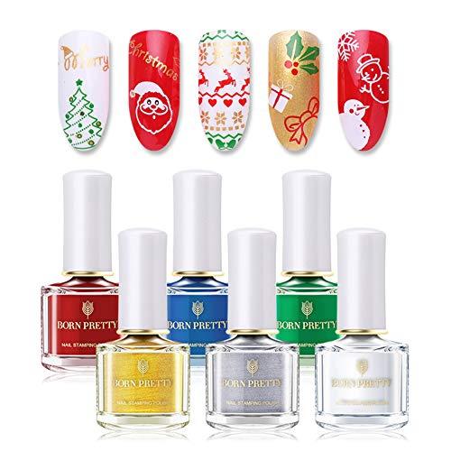 BORN PRETTY 6 Botes 6 ml Navidad Sello Esmalte de Uñas Puro Color Nail Art Print Barniz Manicura DIY diseño, el...