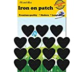 Iron on Patches- Extra Strong Glue Heart Black Iron On Patches 15 Pieces Fabric Applique Motif Children A-157