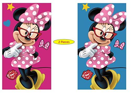 Minnie Disney 2 x Kinder Handtuch/Gesichtstuch 35 x 65 cm Mouse - 100% Baumwolle tolles Geschenk für Mädchen (MS01) (blau rot gestrieft)