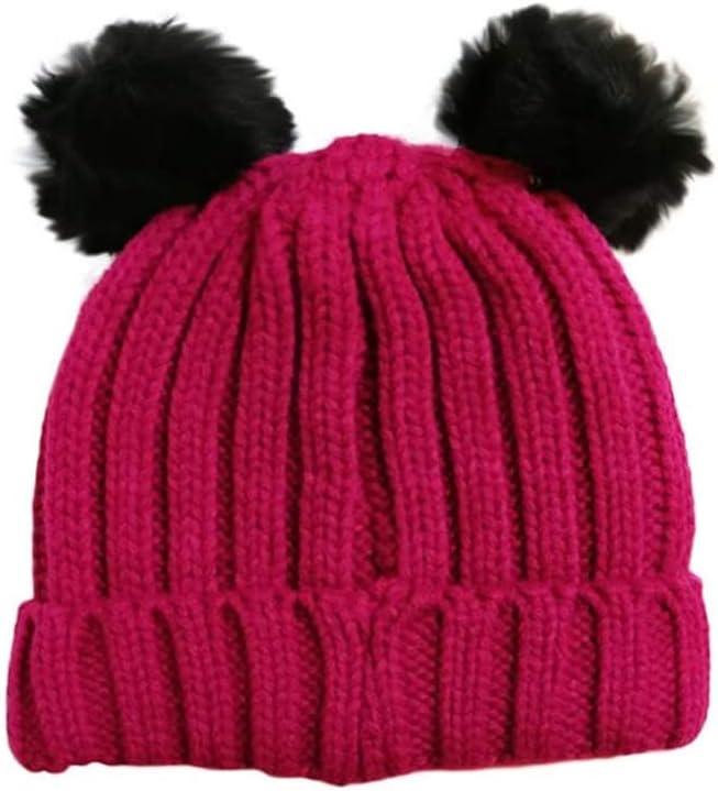 Gorro tejido de invierno para ni/ña con pomp/ón individual y doble 1 POM POM HAT BLACK