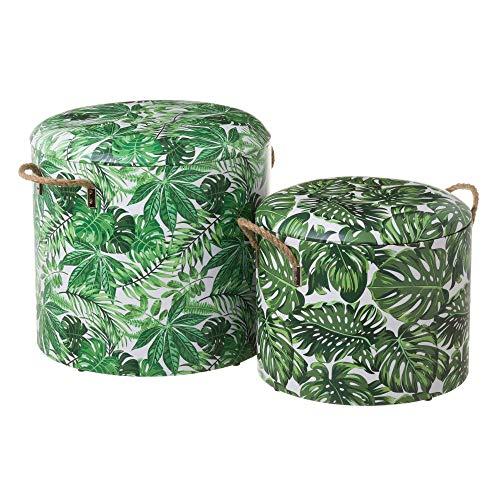 Puffs baúl de Madera tapizados Verdes étnicos para salón Sol Naciente - LOLAhome