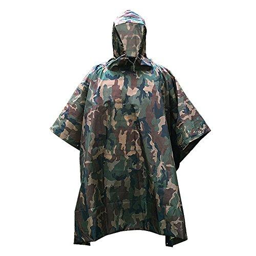 ZUOAO Multifonctionnel Militaire Camouflage Poncho de Pluie Portable, Poids Léger et Pliable, Vêtement de Pluie Etanche pour Camping, Randonnée, Chasse et Équitation