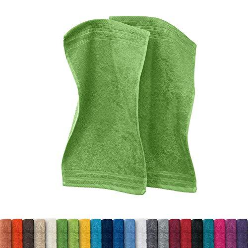 Erwin Müller Gästetuch Heidelberg 2er- Pack 100% Baumwolle apfelgrün Größe 30x50 cm - leichte Qualität, saugstark, schnelltrocknend, kompakt - ideal für Sport, Strand, Reisen (weitere Farben)