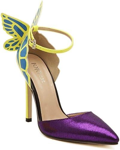 Encre Chaussures Summer Transparent Wings Creux Stiletto Grande Grande Taille Sandales à Talons Haut Femmes Escarpins (Couleur   violet, Taille   37)  votre satisfaction est notre cible