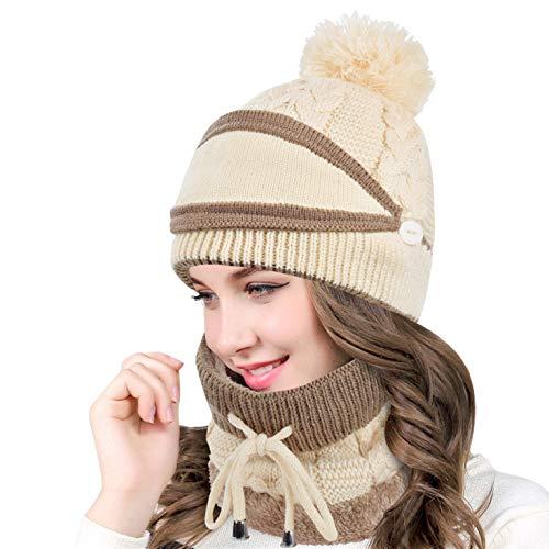 CMTOP Damen-Mütze, Schal und Gesicht, Winterschal mit Fleece, warm, gefüttert,...