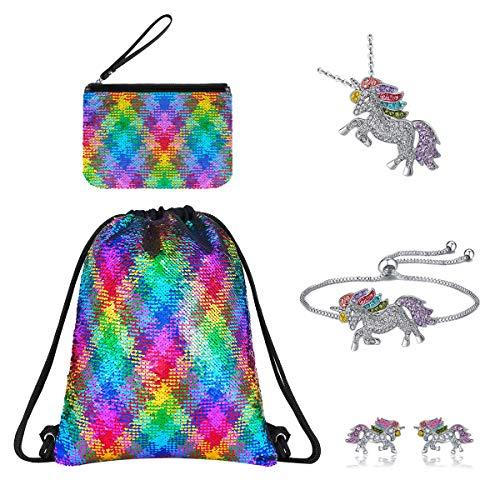 Unicorn Gifts,Unicorn Drawstring Backpack/zip Bag/Bracelet/Necklace/Earring