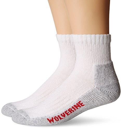 Wolverine Men's 2 Pack Steel Toe Cotton Quarter Sock, White, L/Shoe Size 9-13
