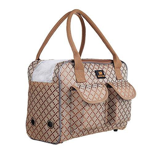 Elegant Katzentasche Hundetrage Tragetasche Hundebox Transporttasche Hunde Katzentragetasche Haustier Flugtasche Handtasche Hundetragebeutel Schultertasche für Kleine Hunde Welpen (M, Khaki)