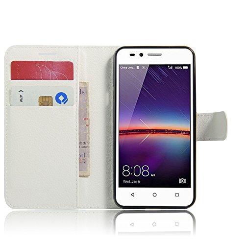 Tasche für Huawei Y3 II Hülle, Ycloud PU Ledertasche Flip Cover Wallet Case Handyhülle mit Stand Function Credit Card Slots Bookstyle Purse Design weiß