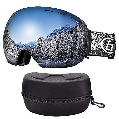 LATTCURE Ski Goggles, Snowboard Brille Doppel-Objektiv UV-Schutz Anti-Fog Snowboardbrille Austauschbare sphärische rahmenlose Linse Skibrille für Skifahren Motorrad Fahrrad Skaten