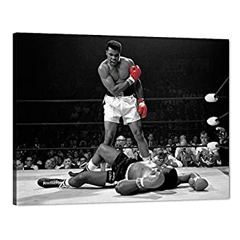 Motto Inspirational Wall Art A Famous Picture Muhammad Ali vs Sonny Liston Red Gloves Canvas Print First Minute First Round Knockout Art Wall Decor Artwork for Office Gym Easy to Hang - 24 W x18 H