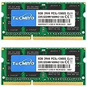 TECMIYO DDR3L 1600MHz SODIMM RAM 16GBKit (8GBx2) DDR3 PC3L-12800S 204Pin 1.35V/1.5V CL11 2RX8 Non ECC Unbuffered Dual Rank for Laptop Notebook Computer Memory Module Ram-Green