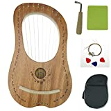 'OW' Lyre Harp 10 Metal String Wooden Saddle Mahogany Lye Harp with Tuning Wrench and Lyre Harp Bag