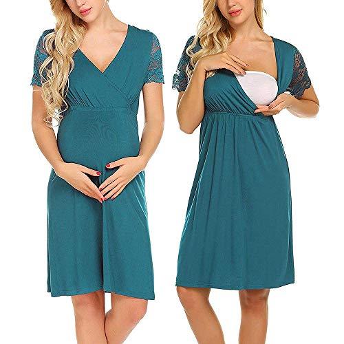 Alessioy Damen Kleid Für Schwangere Fashion Vintage Langarm Umstandskleid Mit Stillfunktion Umstandskleid Festlicher Stretchkleid V Ausschnitt Umstands Stillkleid (Color : Green, Einheitsgröße : L)
