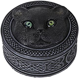 Pacific Giftware Mythical Black Cat Rolling Eyes Resin Trinket Box Collectible