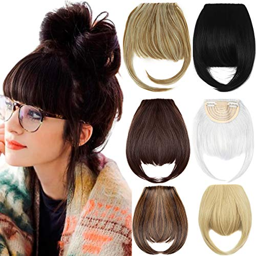 2Pcs Clip in Bangs Hair Extensions Thick Full Neat Bangs Fringe Hair Extension 8' One Piece Clip on Front Bangs Hairpiece