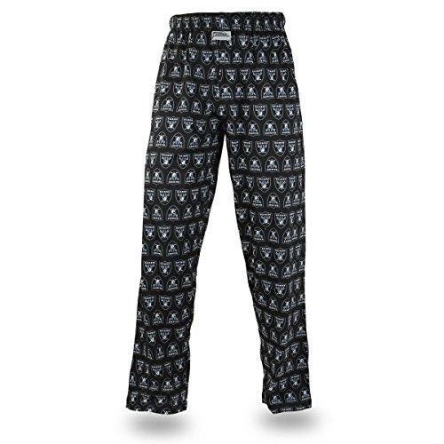 Zubaz NFL Oakland Raiders Men's Team Logo Print Comfy Jersey Pants, Medium, Black Classic Screen Print Jersey