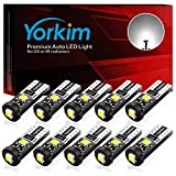 Yorkim 194 Led Bulb Canbus Error Free 3-SMD 2835 Chipsets, T10 Interior Led For Car Dome Map Door Courtesy...