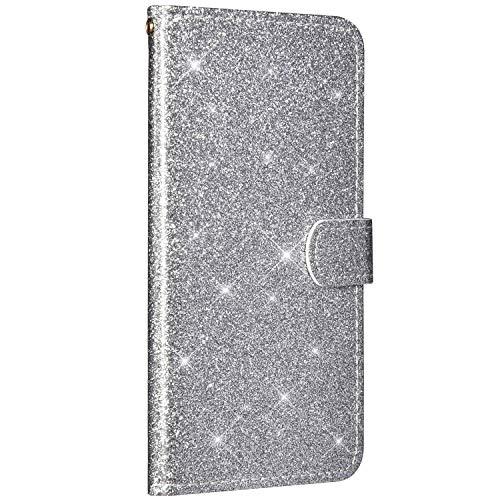 Saceebe Compatible avec Huawei Nova 3i Housse Cuir Portefeuille Coque Paillette Strass Brillante Bling Etui Rabat Flip Case Fentes Cartes Magnétique Support avec Dragonne,Argent