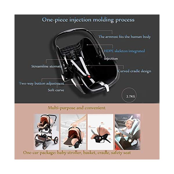 JINGQI Multifunctional Baby Stroller Two-Way Implementation of High-View, Sitting And Lying Shock-Absorbing Folding Children's Stroller, Applicable Age: 0~36 Months,Green JINGQI ✔ The push handle can be adjusted in multiple levels, high-quality linen fabric, stylish atmosphere, water absorption and dirt resistance, and UV protection; bold and thick aluminum alloy frame, waterproof and rustproof; three-sided mesh ventilation, breathable, refreshing ✔ Triple shock absorber: front wheel built-in spring shock absorber, wear-resistant EVA rear wheel, independent frame shock absorber, good shock absorption effect, good grip, strong shock absorber at the root of the frame, durable And good flexibility ✔Exquisite design, better safety performance: one-button release of the seat belt, the armrest can be opened, the rear storage bag, the enlarged storage basket, the non-slip thickened pedal 4
