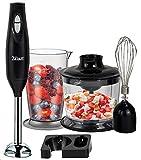 3in1 Stabmixer Set | Handmixer | Universal Küchenmaschine | Pürierstab | Edelstahl Schneebesen | Multi Zerkleinerer | Rührbesenaufsatz | 2 Leistungsstufen | Hitzebeständig | 800ml...