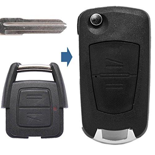 Klapp Schlüssel UMBAU Gehäuse Fernbedienung 2 Tasten YM28 Rohling kompatibel mit Opel