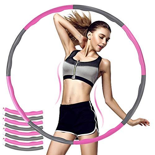 Hula Hoop Fitness Adulti,Cerchio di Fitness Rimovibile,Hoola Hoop in Schiuma, Cerchio di Fitness Splicing, Hula Hoop per Ginnastica da dimagrire, Hula Hoop per Perdita di Peso (Grigio Rosa)