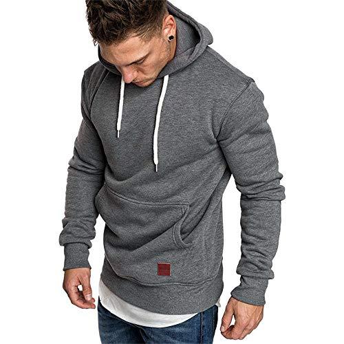 SELENECHEN Herren Sweatshirt Kapuzenpullover Sweatjacke Pullover Hoodie Sweat Hoody Sweatshirt Herren Pullover (Dark Gray, M)
