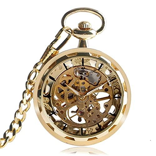 Reloj Bolsillo Retro, Collar Reloj Vintage Dorado Steampunk Esqueleto mecánico Colgante Bolsillo Reloj Bolsillo Colgante Reloj Manual Viento Hombres Mujeres Cadena Regalo