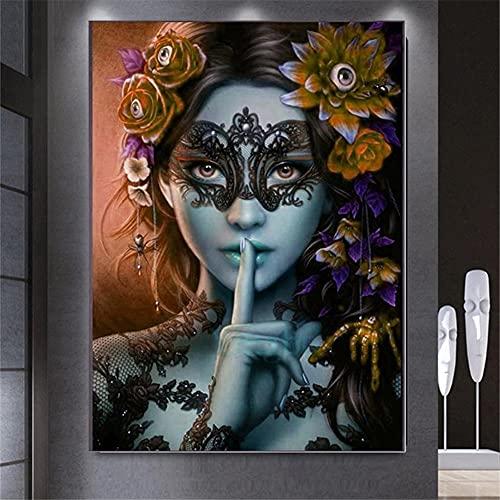 5D DIY Kit de Pintura de Diamante Taladro Completo Adultos/Niños, Flor de belleza Bordado Diamond Painting punto de cruz Lienzo Artística, para decor de la pared del hogar Square drill,80x100cm