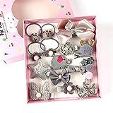 18 unidades de Pinzas para el Pelo para Chica, Accesorios de Cabello rosa con Flores y Distintos adornos (Gris)
