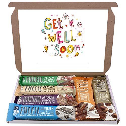 Fulfil Protein Bars & Vitamins Chocolate 6x60g Gift Box Hamper Snack Low Sugar Carbs Fulfill Bar (Get Well Soon)