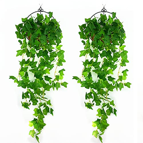 Kunstpflanze Efeu,Hängepflanze Kunstblumen Wie Echt,Efeu Künstlich Girlande, Gefälschte Pflanzen für Terrarium Deko,Kunstblumen ImTopf and Garten Hochzeit Party Wanddekoration.