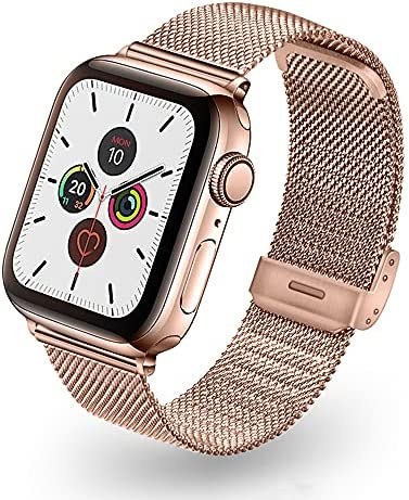Compatible with Apple Watch Bands 38mm 40mm 42mm 44mm for Women Men iWatch Bands Luxurious Soft Stainless Steel Mesh Strap Adjustable Replacement for iWatch Series 6/5/4/3/2/1/SE (Rose Gold, 42/44)