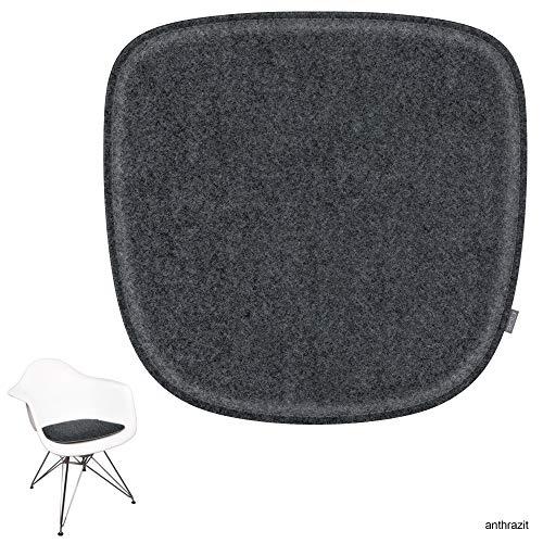 noe Eco Filz Sitzkissen geeignet für Vitra Eames Armchair - DAW,DAR,RAR,DAX,DAL,Rocker - 29 Farben - optional inkl. Antirutsch und gepolstert (Oberseite - anthrazitmeliert)