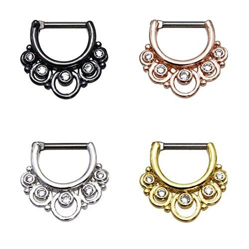 KARISMA titanio G23setto Clicker Segment anello zirconi pietre anello al naso piercing naso di 1,2X 8mm TSC 11-H002, titanio, colore: argento, cod. TSC-H002