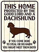 Smart Blonde ビンテージ風 英語版 おしゃれな 猛犬注意の看板 プレート 犬がいます 屋外OK 錆びないアルミ製 (ラージ(30.5x46cm), ダックスフンド)
