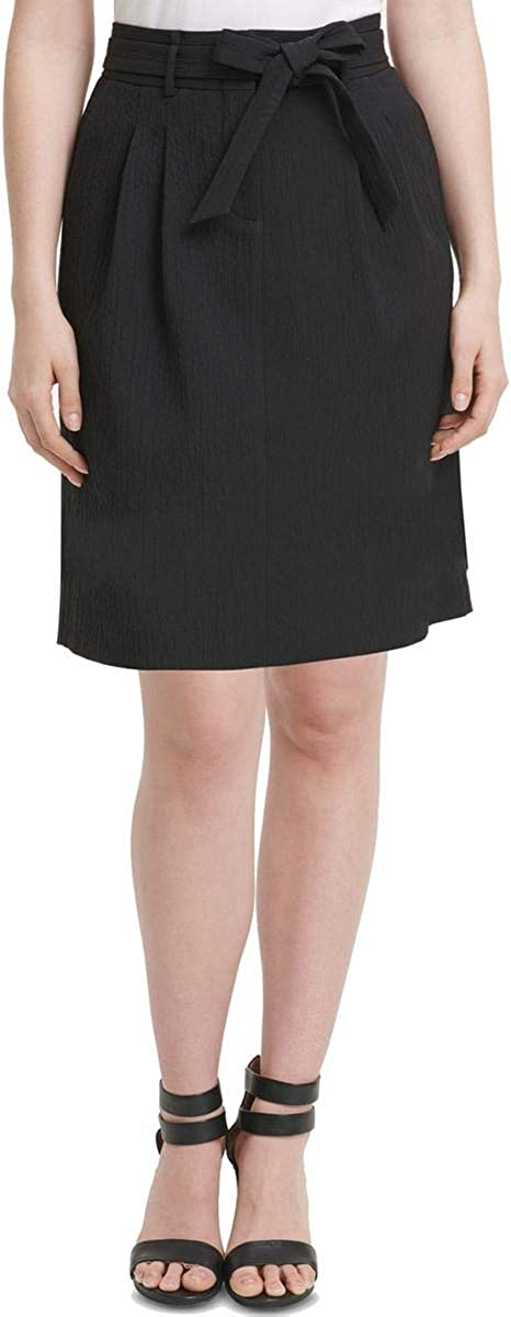 DKNY Women's Petite A-Line Paperbag Textured Skirt Black 12P