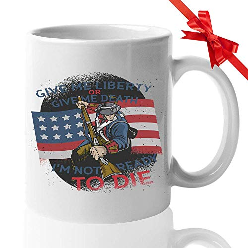 Patrick Henry Taza de café Dame libertad o dame cita de muerte Patriota Guerra Revolucionaria Segunda Convención de Virginia George Washington 11 Oz